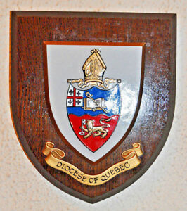 Diocese of Quebec wall plaque shield crest coat of arms anglican church
