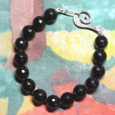 Black Onyx Faceted 10mm Ball Gemstone Bracelet Silk Knotted Hand Tied 7.5""
