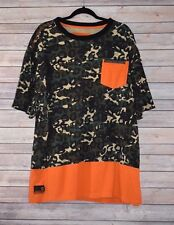 Men's Akademiks Orange Camouflage Short Sleeve T-Shirt Size 5X Large