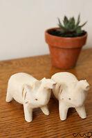 Set of 2 Hand-carved Handmade Wooden Elephants DIY Art Craft Ornament Figurine