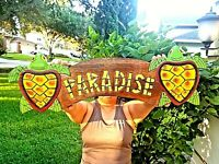"Vibrant 19.5"" Handcarved and Painted Wood Paradise with Turtles Wall Decor Sign"