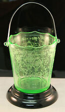 1930s Cambridge 'Diane' Pattern Green URANIUM Glass Ice Bucket elegant & Plinth