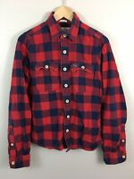 Abercrombie Fitch Mens Flannel Shirt Red Small Muscle Fit Blue Buffalo Plaid L/S