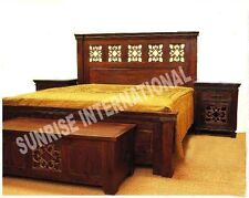 Casting Jali Wooden King Size Double Bed  with 2 Matching Bed side cabinet !