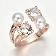 Zirconia Pearl Wedding Rings Women European Silver Plated Engagement Gem Ring