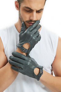 men 2021 whole piece real Italy top leather unlined motor driving gloves