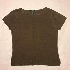 Eddie Bauer Women's Brown Knit Sweater 100% Mercerized Cotton Short Sleeve Top M