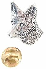 Fox Head Handcrafted in Solid Pewter In UK Lapel Pin Badge A6