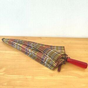 Vintage Biltwell Umbrella Co Lucite Handle Plaid Orange Purple 5th Ave NY BSH