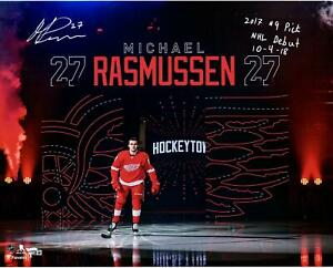 """Michael Rasmussen Red Wings Signed 16"""" x 20"""" Photo & Inscs - LE 18 - Fanatics"""