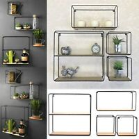 Set of 4 Retro Metal Wall Shelf Industrial Style Shelves Storage Display Unit UK