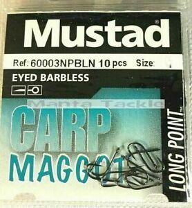NEW 40 x Mustad Carp Maggot Eyed Barbless Hooks Size 12 Coarse Tench Feeder 4pk