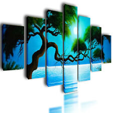 HUGE EXTRA LARGE CANVAS PICTURES WALL ART BLUE  SPLIT MULTI PANEL SEA IMAGE 80""