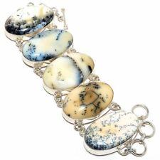 "Dendrite Opal Gemstone Handmade Silver Fashion Jewelry Bracelet 7-8"" SB3818"