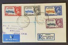 1935 Berbera British Somaliland London Registered Multi Frank Air Mail Cover
