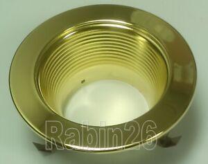 """4"""" RECESSED LIGHT STEP BAFFLE POLISHED GOLD BRASS REFLECTOR TRIM R20 PAR20 120V"""