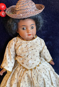 Antique AM German Bisque Doll 12 IN, Antique Gown Antique Doll