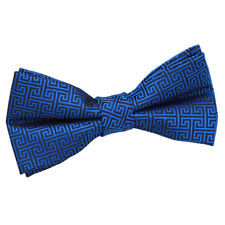 DQT Woven Greek Key Patterned Royal Blue Classic Mens Pre-Tied Bow Tie