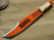 MARBLES JUNGLE BOWIE MACHETE KNIFE ORANGE BLADE WITH NATURAL WOOD HANDLE