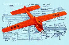 "Build a Vintage 1959  C/L Speed Plane Devil eng .15 21 3/4""  F/S Printed Plans"