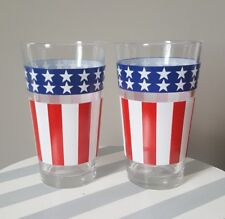 Vintage Beer Iced Tea Drinking Glasses Tumblers Patriotic Red White Blue Flag 2