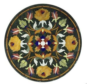 """24"""" marble Table Top floral inlaid semi precious stones work"""