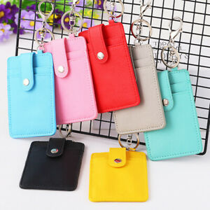1x Card Holder ID Card Bus Cards Bank Card Holder Cover Case with Keyring、
