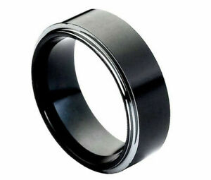 Free Engraving - Tungsten Carbide Black with Polished Step Wedding Band Ring