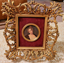 "Antique  Brass Gold Metal Picture Frame Ornate Miniature Lady Portrait 10"" x 9""."