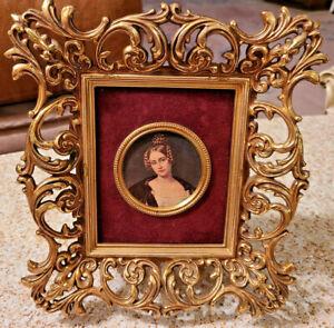 "Antique  Brass Gold Metal Picture Frame Ornate Miniature Lady Portrait 10"" x 9""."