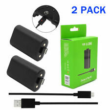 2 X FOR Microsoft XBOX ONE Play Xbox One X Rechargable Battery 1400mAH USB Cable