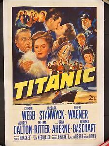 TITANIC '53 BARBARA STANWYCK CLIFTON WEBB ROBERT WAGNER LINENBACKED 1SH