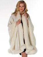 Winter White Fox Fur Trim Cashmere Shawl Wrap Cape for Women - Majestic
