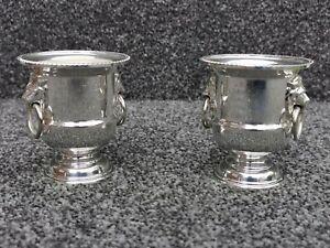 2 Viners Vintage Silver Plated Urn Toothpick Holder Salt Pot Egg Cup Candle Vase