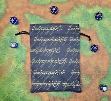 Lord of the Rings Elvish In Gold Dice Bag, Card Bag, Makeup Bag