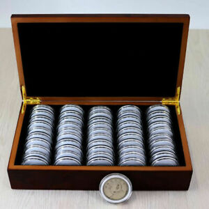 50 Coins 5cm Size Coin Capsules Storage Box with Wooden Case Holder Collection