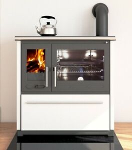 EEK A+ Küchenofen Holzherd Plamen 850 weiß, rechte Version - 8 kW Dauerbrandherd