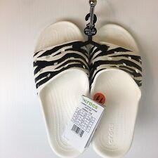 Crocs Zebra Print Slide Sandal Unisex Women 11 US Men 9 Synthetic White Black