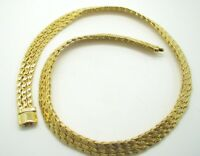 Vintage BRIGHT GOLD TONE 3-Row FLAT WIDE SERPENTINE NECKLACE Bib Collar RUNWAY!