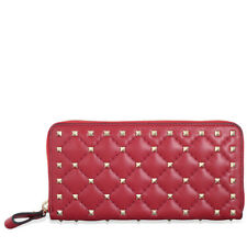 Valentino Rockstud Spike Leather Wallet - Red