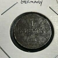 1916-A GERMANY ONE KOPEK WW1 COIN