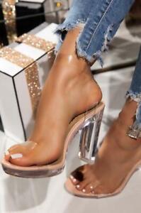 Icy - Lemonade Transparent Platform & Heel Thin Block Clear Strap Heeled Sandals