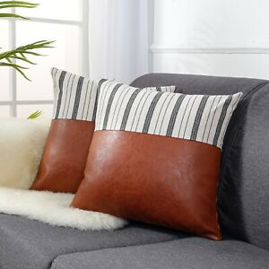 Faux Leather Throw Pillow Covers, 18 x 18 inch Set of 2
