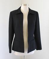 Tahari ASL Levine Solid Black Open Front Blazer Jacket Size 4 Career