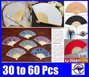 Bulk Hand Folding Silk Bamboo Wooden Paper Fan White Red Pink Green Blue Flower