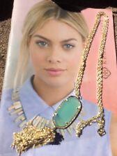 New Kendra Scott Rayne Chalcedony Pendant Tassel Gold tone Necklace NWT
