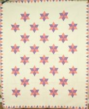 WELL QUILTED Vintage 30's Stars Antique Quilt ~GREAT QUILTING & SAWTOOTH BORDER!