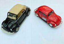 Vintage VW Beetle Convertible and VW Beetle M.C. Toys and Lledo Black Red