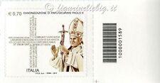 2014 francobollo Canonizzazione Papa Giovanni Paolo II SX CODICE A BARRE 1589