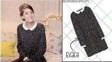 ZARA POLKA DOT PETER PAN COLLAR BLACK DRESS SIZE XL